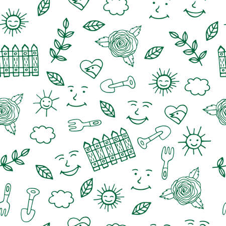 Sunny day for gardening seamless pattern with trovel and other elements on white background. Vector illustration.