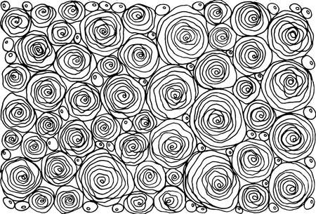 Black and whit doodle of a collection of roses.