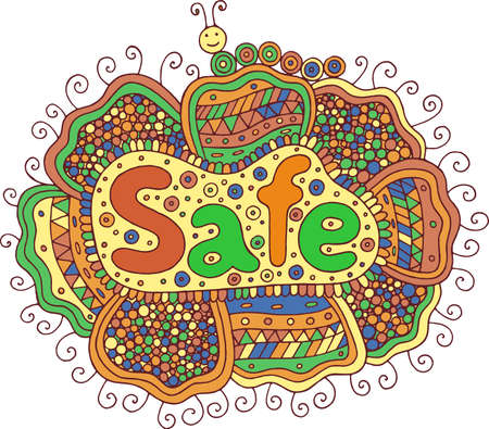 Graphic art with mandala and safe word. Doodle lettering colorful artwork Vector illustration.