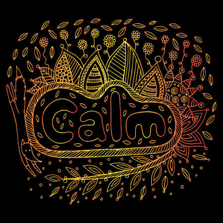 Art with mandala and calm gradient word. Doodle lettering artwork. Vector illustration. Illustration