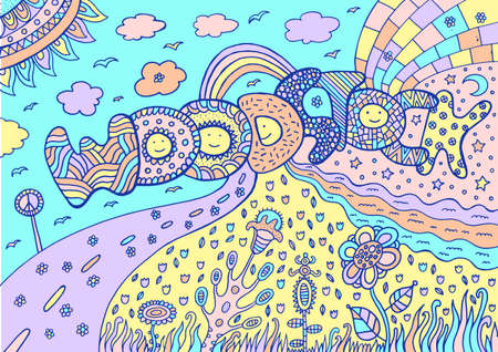 Pastel colored artwork with word woodstock and summer landscape. Tumblr neon colors. Cartoon doodle art. Vector illustration.