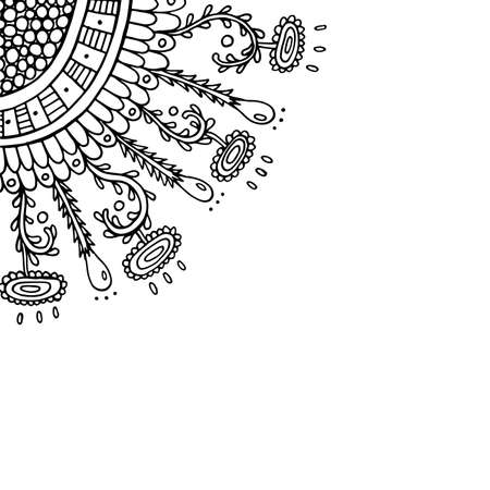 Doodle frame with floral elements. Coloring page for adults. Vector illustration.