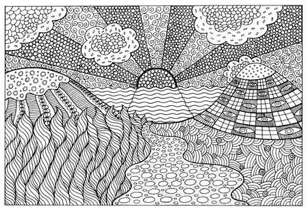 Doodle paisaje surrealista - página para colorear para adultos. Obra gráfica fantástica. Ilustración de vector.