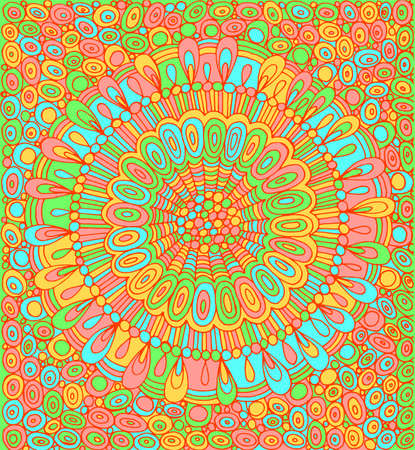 Doodle mandala with circle pattern background. Psychedelic colorful graphic artwork. Vector illustration. Illustration