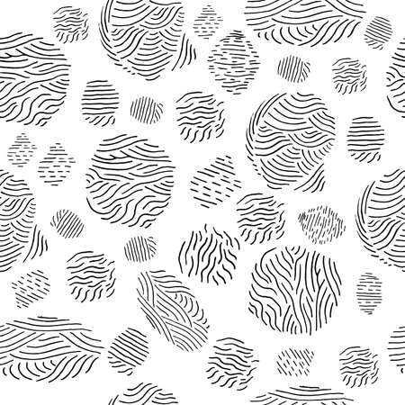 Abstract hand drawn seamless pattern with doodle fingerprints. Simple black and white background. Vector illustration.