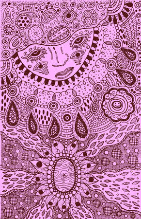 Graphic art with shamanic face and mineral ornaments. Doodle ink artwork. Vector illustration.