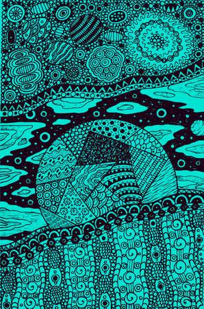 Doodle surreal fantastic art with planet and cosmic landscape. Ornament artwork. Vector illustration.