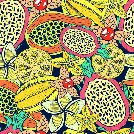 Tropical exotic fruits - seamless pattern. Doodle graphic art background. Vector illustration. Vector Illustratie