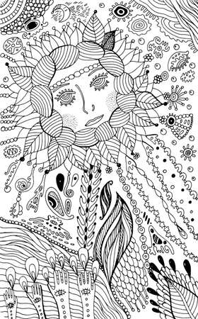 Flower woman - coloring page for adults. Surreal fantasy doodle artwork. Vector illustration.