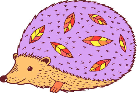 Cartoon hedgehog - colorful graphic drawing. Isolated doodle element for graphic design. Vector illustration.