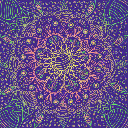 Psychedelic mandala background. Fantastic geometric flower backdrop. Vector illustration.