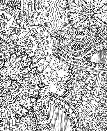 Summer doodle landscape. Fantastic hand drawn psychedelic cartoon artwork. Vector illustration.