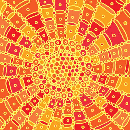 Colorful sun mandala. Doodle cartoon background art. Vector artwork. 向量圖像