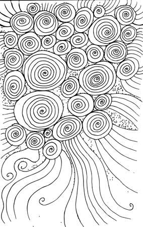 Doodle background with circles and spirals. Hand drawn texture design. Ink abstract drawing. Vector artwork.