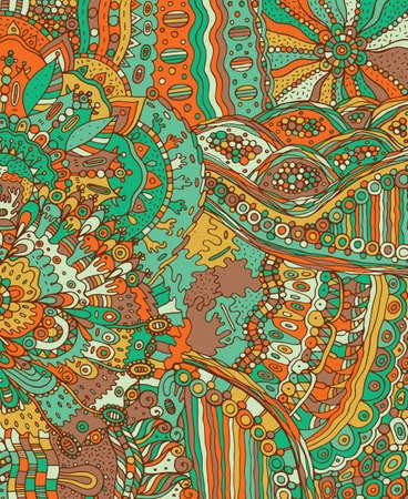 Summer doodle landscape. Fantastic hand drawn psychedelic colorful cartoon artwork. Vector illustration.