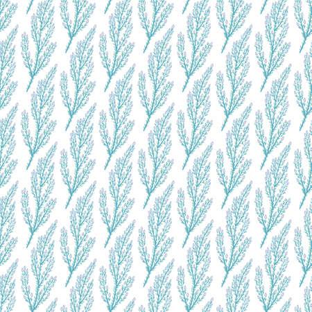 Federniederlassungen - nahtloses Muster mit handgezeichneten Blumen. Blumenpastellfarbener Hintergrund. Vektor-Illustration.
