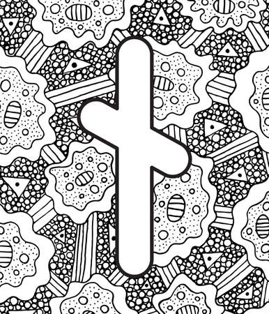 Ancient scandinavic rune nyedis with doodle ornament background. Coloring page for adults. Psychedelic fantastic mystical artwork. Vector illustration.