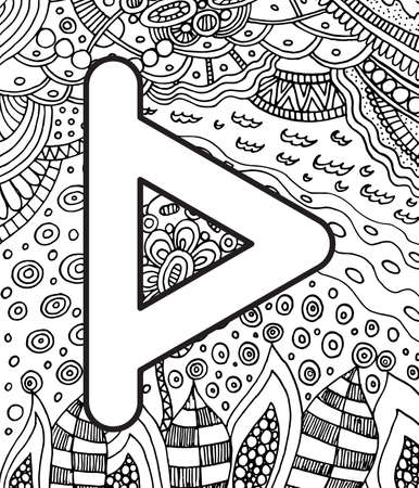 Ancient scandinavic rune turizas with doodle ornament background. Coloring page for adults. Psychedelic fantastic mystical artwork. Vector illustration.