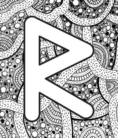 Ancient scandinavic rune raido with doodle ornament background. Coloring page for adults. Psychedelic fantastic mystical artwork. Vector illustration.