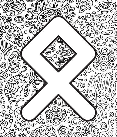 Ancient scandinavic rune othala with doodle ornament background. Coloring page for adults. Psychedelic fantastic mystical artwork. Vector illustration.