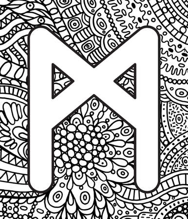 Ancient scandinavic rune mannaz with doodle ornament background. Coloring page for adults. Psychedelic fantastic mystical artwork. Vector illustration. Vektorové ilustrace