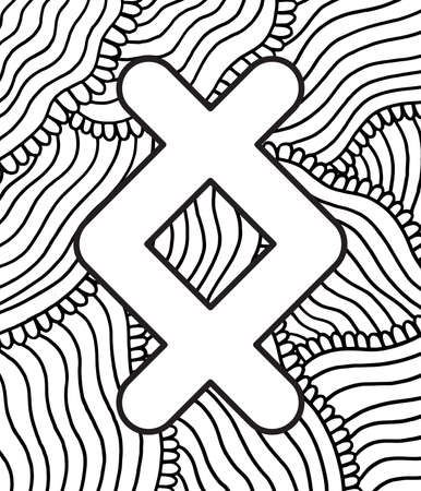 Ancient scandinavic rune ingwaz with doodle ornament background. Coloring page for adults. Psychedelic fantastic mystical artwork. Vector illustration.