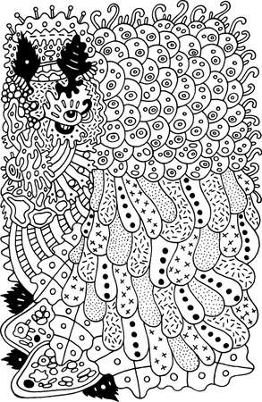 Psychedelic cartoon abstract doodle. Ink line drawing. Coloring page for adults. Vector illustration.