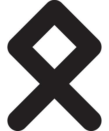 Ancient scandinavic rune othala. Viking futhark alphabet. Flat black line icon. Graphic element. Vector illustration.