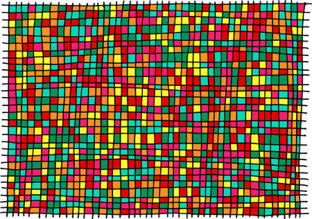 Grunge ink hand drawn texture with square cage pattern. Bright and colorful cell background for design. Street art style. Scratch line art. Vector illustration.