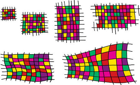 Grunge ink hand drawn set with square cage elements. Colorful and bright cell collection for design. Street art style. Scratch line art. Vector illustration.