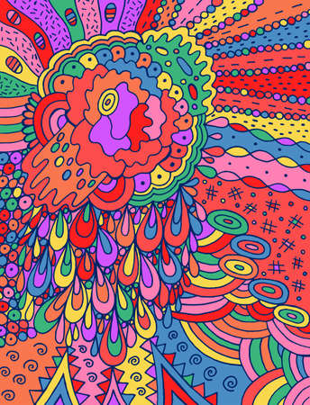 Fantastic cartoon abstract doodle with flower and drops. Colorful and bright line drawing. Naive art style. Vector illustration.
