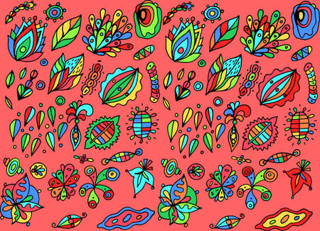 Colorful backdrop. Naive art style. Abstract pattern with floral motifs. Bohemian and hippie style. Vector illustration. Illustration