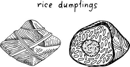 Zongzi - rice dumplings. Chinese food. Sketch black and white illustration. Hand drawn artwork. Vector art. Ilustracja