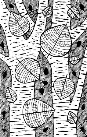 Aspen - tree illustration. Black and white ink leaves drawing. Coloring book for adults. Line art. Vector artwork.