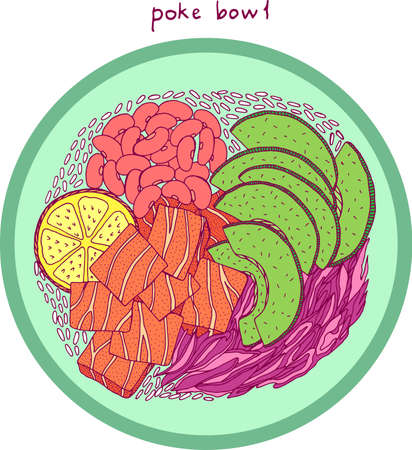 Poke bowl. Asian food illustration. Bright colorful realistic sketch. Salmon, avocado, rice. Vector artwork. Banque d'images - 136840470