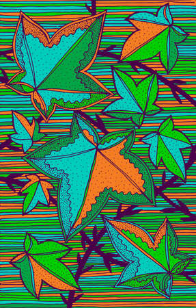 Ivy - floral illustration. colorful plant drawing. Graphic psychedelic multicolored line art. Vector artwork.
