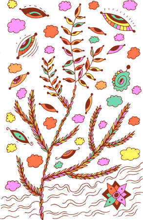 Heather - floral illustration. colorful plant drawing. Graphic psychedelic multicolored line art. Vector artwork. Иллюстрация