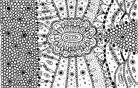 Mandala and little circles. Psychedelic coloring page for adults. Abstract line art. Doodle texture for background. Zen drawing. Vector artwork.
