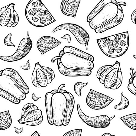 Mexican vegetables seamless pattern. Tomato, pepper, garlic texture. Black and white illustration. Line art backdrop for menu and flyer design. Vector illustration.