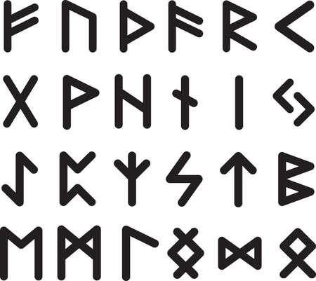 Collection of 24 scandinavic runes black inside. Silhouette futhark icon set. Elder viking hieroglyphics. Vector illustration.