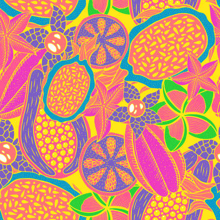 Doodle seamless pattern on yellow backdrop. Vector pattern. Neon colors rainforest texture. Bright fashion background. Tropical nature colorful design. Tropical bright backdrop. Sweet fruit.