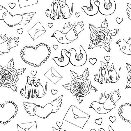 Coloring page pattern for adults. Valentine s Day seamless pattern with hearts, birds, cats, roses and letters. Doodle cartoon background. Vector illustration. Ilustração