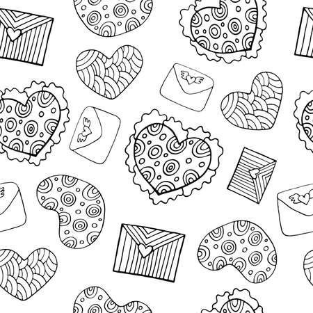 Valentine s Day seamless pattern with hearts and letters. Doodle outline coloring page. Cartoon background. Vector illustration.