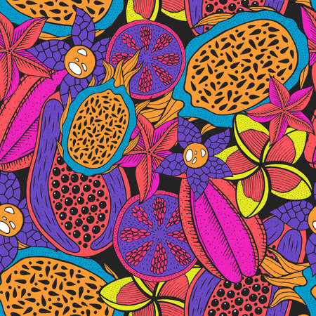 Doodle seamless pattern on dark backdrop. Vector pattern. Neon colors rainforest texture. Bright fashion background. Tropical nature colorful design. Tropical bright backdrop. Sweet fruit.
