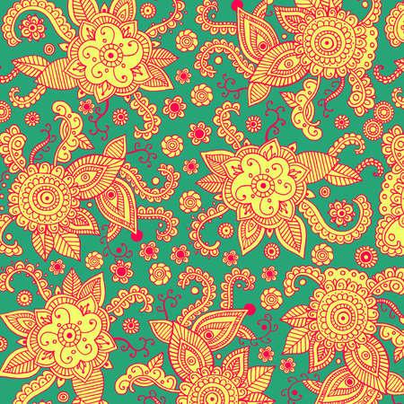 Boho mehndi ornament on green backdrop. Henna mehndi psychedelic tribal patten background for print, design, textile, fabric. Vector illustration. Ilustração
