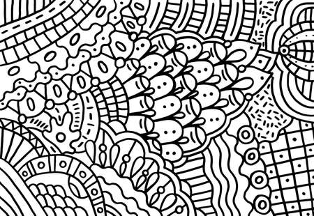 Doodle pattern for coloring book for adults. Coloring page with floral abstract motifs. Psychedelic texture. Zentangle pattern. Vector illustration.