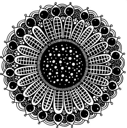 Floral doodle mandala. Line black and white realistic drawing. Antistress coloring page for adults. Vector illustration.