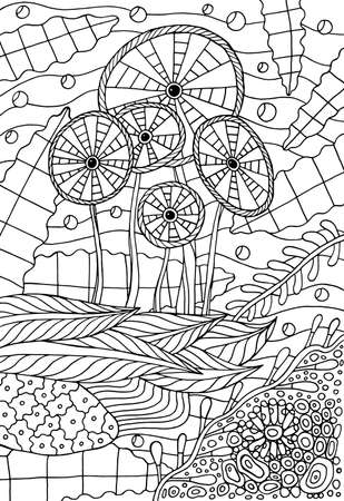 Coloring page for adults. Doodle illustration with ocean seaweed. Creative vector illustration. Line drawing. Underwater world. Wild sea nature. Marine landscape.