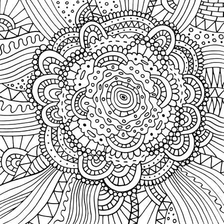 Floral doodle trippy psychedelic mandala artwork. Line black and white realistic drawing. Antistress coloring page for adults. Vector illustration. Ilustração