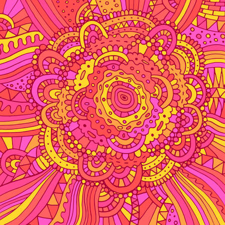 Floral doodle trippy psychedelic mandala artwork. Line multicolor realistic drawing. Doodle pink rose flower. Vector illustration